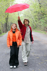 Couple on the road under the red umbrella